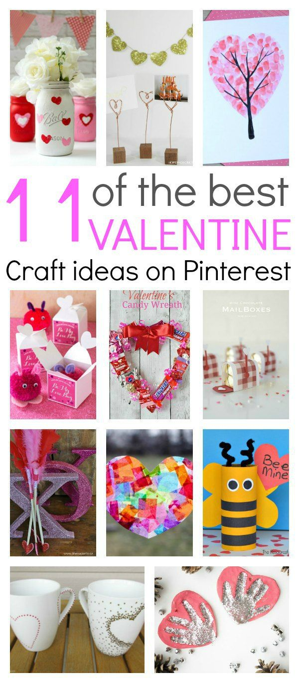 "11 of the best Valentine craft ideas you will find on Pinterest. Simple, easy and fun crafts that everyone can make. Kids can have fun with mason jars, tissue paper, printable's….you name it…it's there. These crafts are the easiest way to say ""I Love You"". #Valentinesdayideas #Valentinesdaygifts #Crafts"
