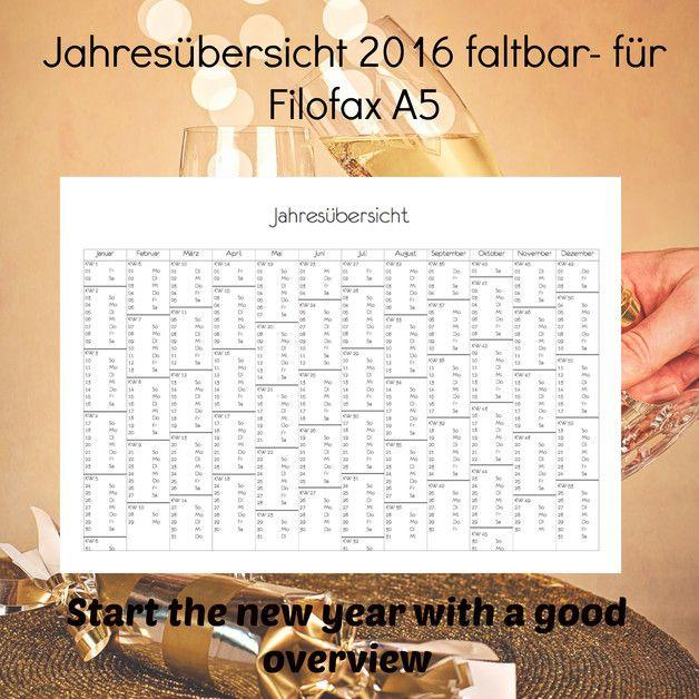 Jahreskalender 2016 - faltbar. passend für fast alle Taschenkalender ...