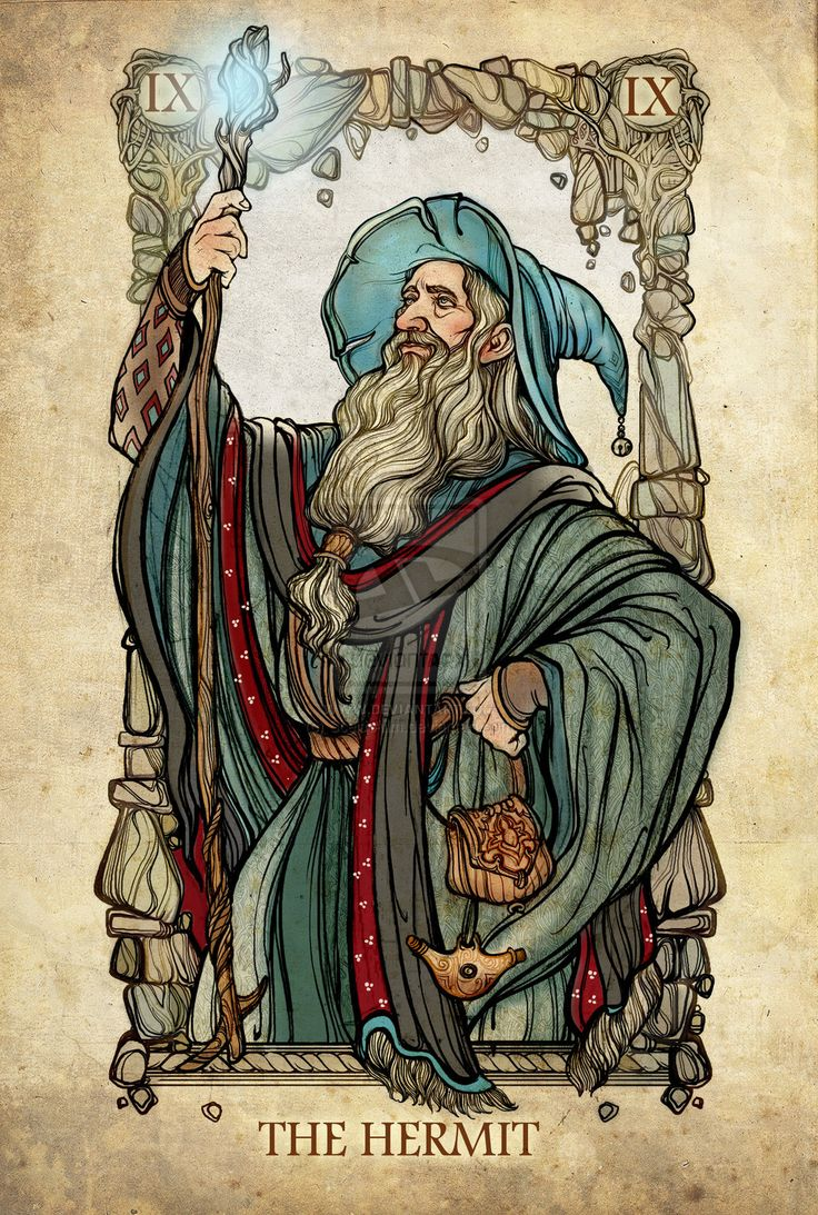 "Tarot: The Hermit by SceithAilm.deviantart.com on @deviantART - Tenth in a series of Major Arcana tarot cards based on ""The Lord of the Rings"":"