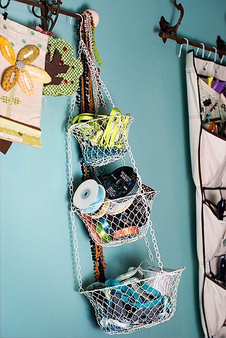 Hanging Fruit Basket is used for ribbon storage.