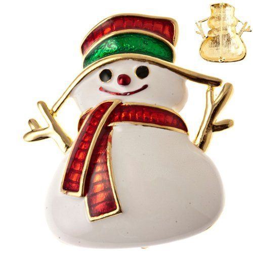 """Christmas Jewelry Happy Holidays Spirit Crystal Red Charm Pin Brooch Accessoriesforever. $12.00. Style: Snowman with Scarf & Hat. Lead Free. Color: Red, Green, Gold. Material: White, Black, Red & Green Enameled, Gold Plated. Dimensions (Size): Approx. 1.75"""" L x 1.75"""" W"""