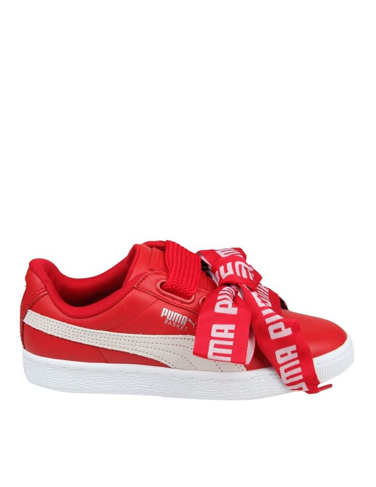 PUMA SNEAKERS BASKETBALL HEART IN SKIN COLOR RED. #puma #shoes #