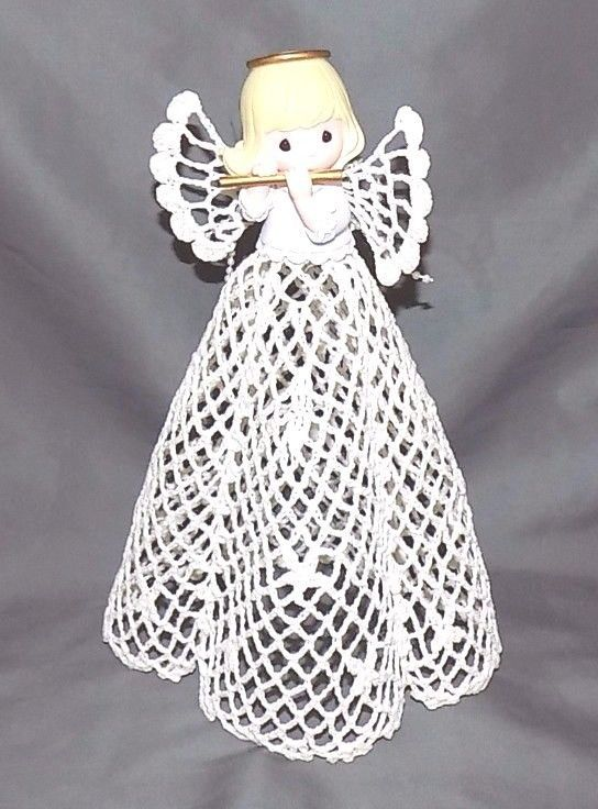 Precious Moments Lace Angel Playing Flute Table Top Decor or Xmas Tree Topper