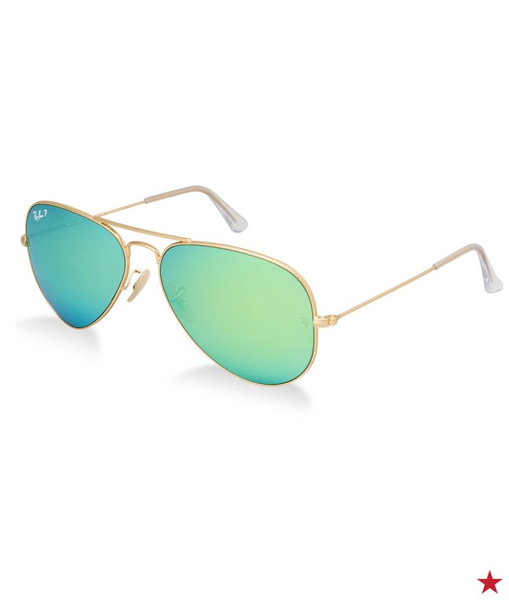 When it comes to amazing summer shades, Ray Ban aviators with awesome blue-green reflective lenses are the ultimate of classic-meets-cool.