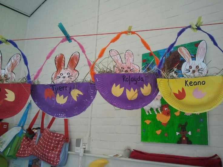 Easter bunnies paper plate crafts