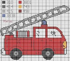 free firetruck cross stitch pattern - Google Search