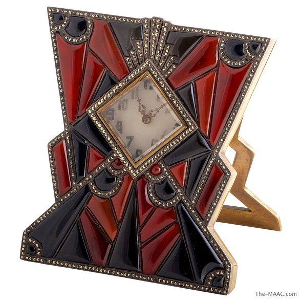 Art Deco Clock, bronze & silver W/onyx, carnelian & marcasite, German, c.1920's♥≻★≺♥