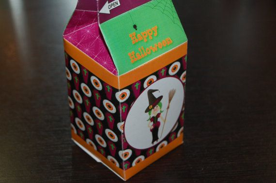 Available for Instant Download Witch / Halloween Milk Carton style treat box by WendysPrintableParty