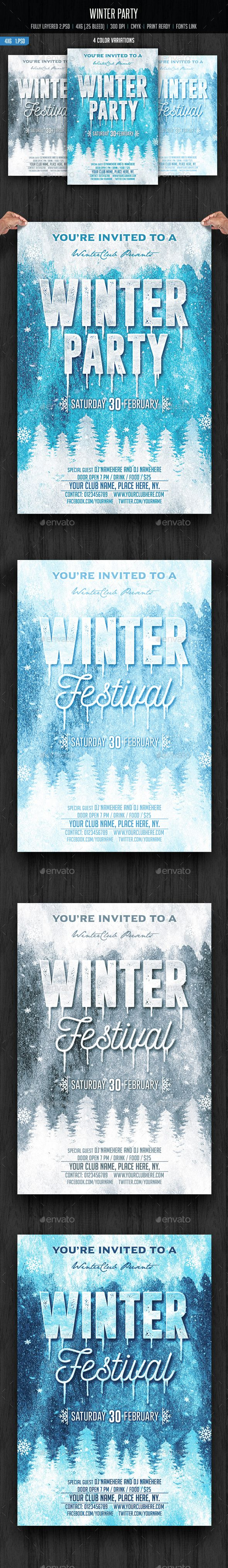 17 best images about puchar skiing holiday posters winter party flyer template