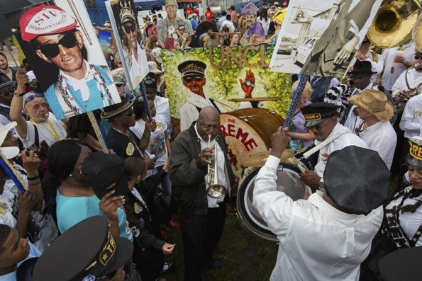 A Jazz Funeral for Uncle Lionel Batiste with the Treme Brass Band and friends during the 2013 New Orleans Jazz & Heritage Music Festival at Fair Grounds Race Course on April 28th, 2013.