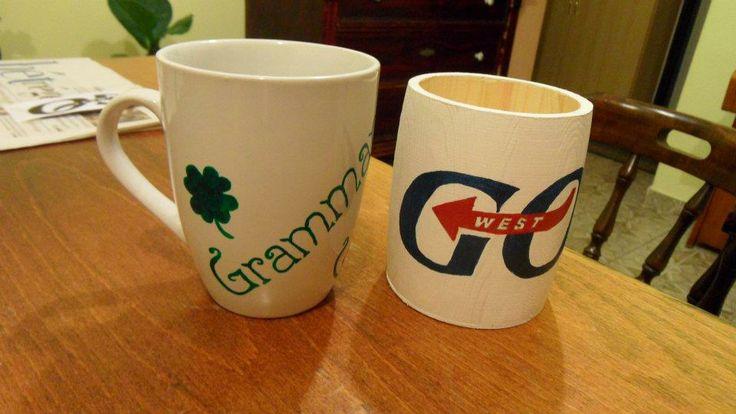Painted mug and pencil holder