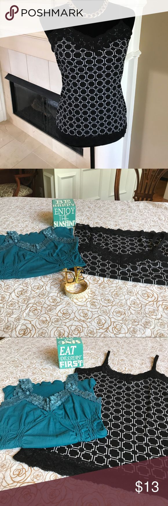 WHBM B/W Cami & M.Rena Teal Cami Combo WHBM Black/White Cami Top Size Small with black lace at top/bottom and adjustable straps. Modern design and super versatile.  Wear alone or layer it.  Included in this listing is a M.Rena Teal Cami Top One Size Fits All: 92% Nylon/8% Spandex. White House Black Market Tops Camisoles
