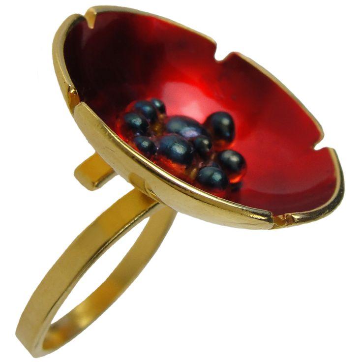 Emmanuela.gr - Handmade Jewelry - Rings :: Handmade Gold Plated Poppy Ring