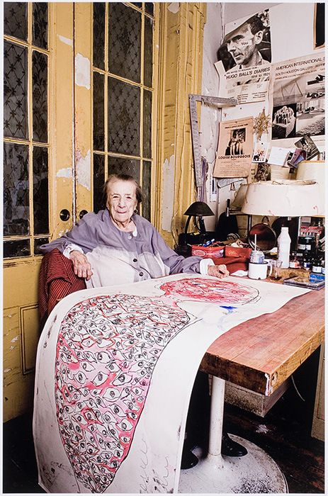 Louise Bourgeois at work, New York, 2009, by Dimitris Yeros. With artists, there's no such thing as retirement. The way life should be!