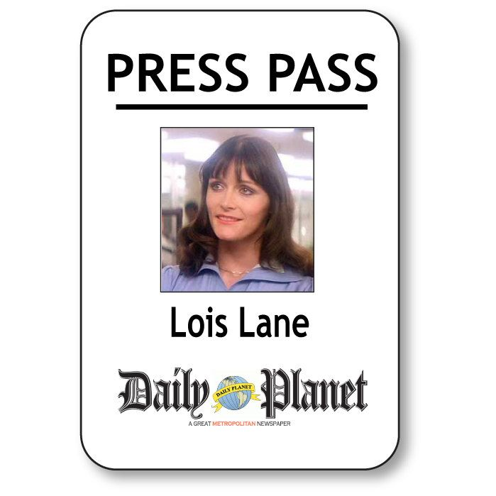 LOIS LANE SUPERMAN Daily Planet Press Pass Pin Fastener Name Badge Halloween Costume Prop by Badgelady117 on Etsy