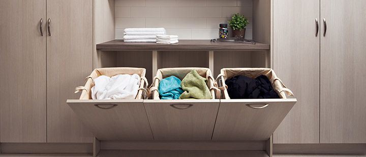 Multiple built-in laundry hampers can be used for sorting dirty laundry and save you time.