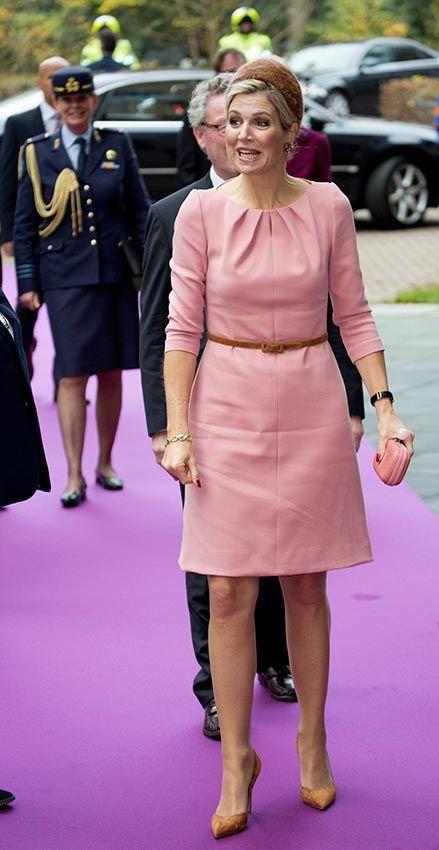 Reina Máxima de Holanda Acto: Evento en Nijmegen, (Países Bajos). Fecha: 11 de noviembre de 2015. 'Look': Máxima de Holanda lució un vestido en rosa chicle, clutch al tono y zapatos en tono tostado.