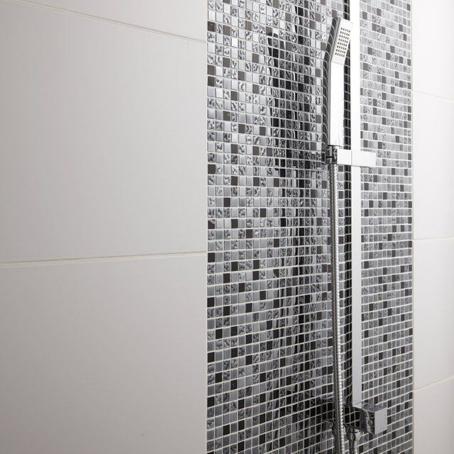 Mosaique Sol Et Mur Fusion Futurisme Noir Et Chrome 1 5 X 1 5 Cm Leroy Merlin Mosaique Salle De Bain Salle De Bain Idee Salle De Bain