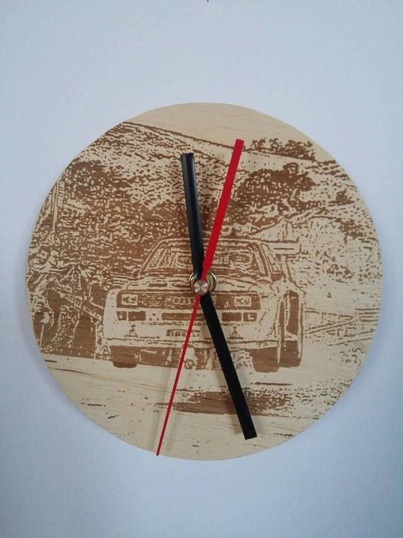 Check out this item in my Etsy shop https://www.etsy.com/listing/524181414/wooden-wall-clock-rally-group-b-audi
