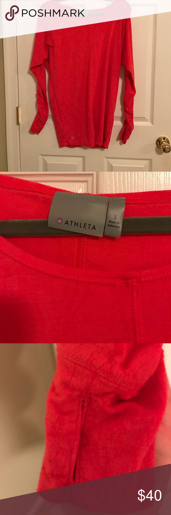 Athletes pick long sleeved top with thumb holes Athleta (Gap company) pink work out top with thumb holes. Light material, very comfortable! Great for a run or walk on a nice spring day! Women's size small, great quality. Rarely worn, no tags Athleta Tops Tees - Long Sleeve