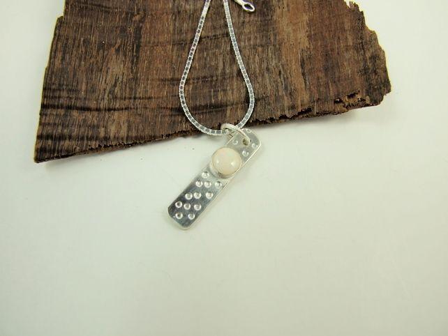 Opal Necklace, Sterling Silver Ingot White Australian Opal Gemstone £38.00
