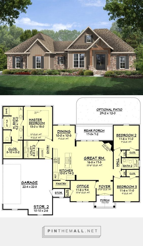 Craftsman Style House Plan 3 Beds