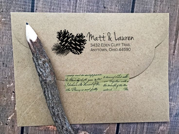 Woodland Return Address Stamp,Pine cone Stamp,Tree Stamp,Pine needles,Rustic,Papergoods,Wedding Stamp,Personalized Stamp,#16-50 by LittlebeaneBoutique on Etsy https://www.etsy.com/listing/265064000/woodland-return-address-stamppine-cone