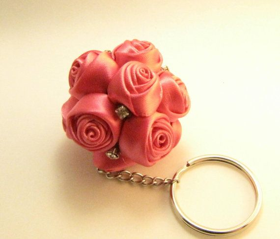 Pink ball roses keychain