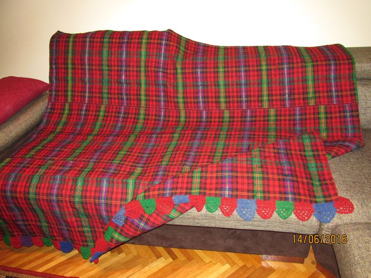 Beautiful ANTIQUE hand woven, hand loomed, homespun wool on cotton bed spread, table cloth fabric from Romania / Tranylvania .  At www.greatblouses.com