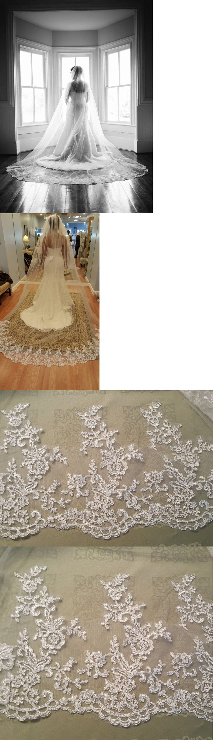 Bridal Accessories: Wedding Cathedral Veil Light Ivory Metal Comb 118 Long By 108 Wide -> BUY IT NOW ONLY: $76.49 on eBay!