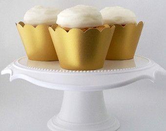 Gouden Cupcake Wrappers voor 40ste verjaardagspartij.