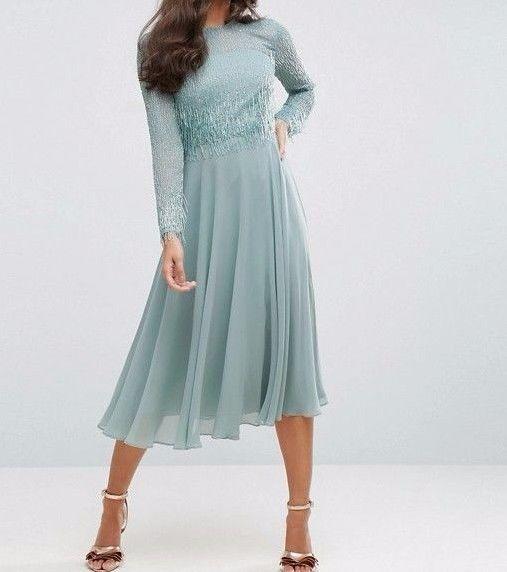 BRANDED/Designer Embellished Long Sleeve Tassle Midi Evening Dress Mint UK 12  | eBay