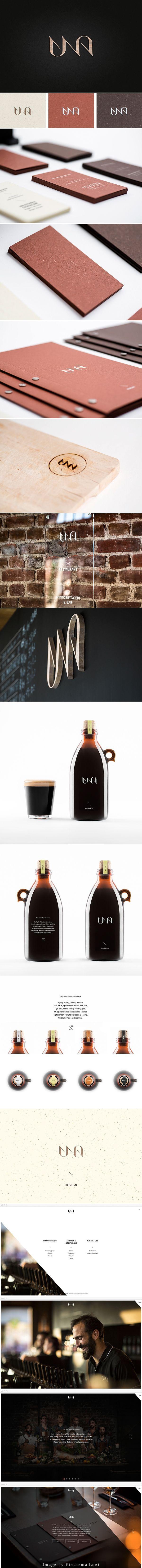 UNA brand design implementation - elegance, using earthy colors.: