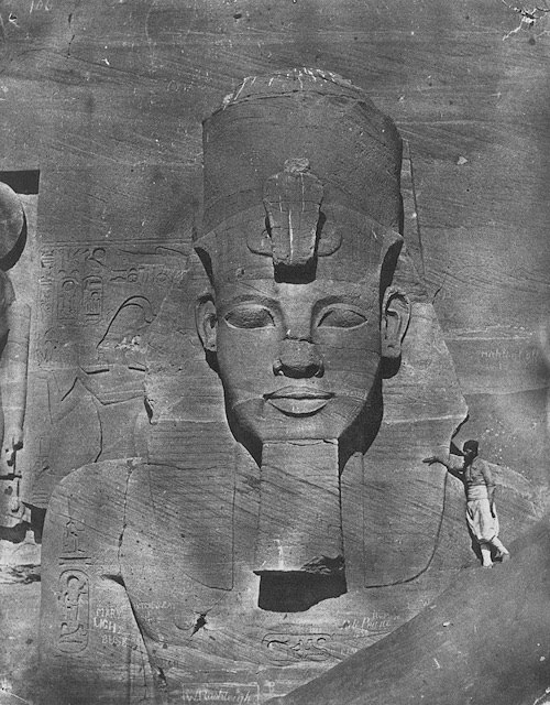 Ramesses II statue at Abu Simbel Temple, Ancient Egypt. Maxime Du Camp's mission to Egypt and the Near East in 1849–51 to make a photographic survey of monuments and sites.