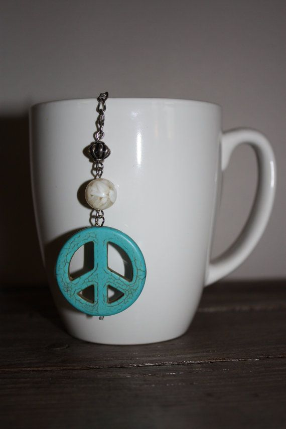 Turquoise Peace Sign 2 Inch Single Serve by ForTheLoveOfColour