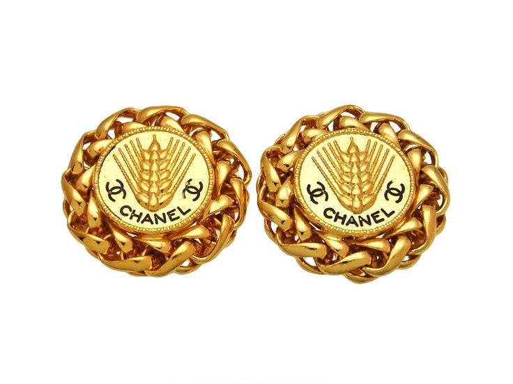 Vintage Chanel earrings CC logo round rice ear