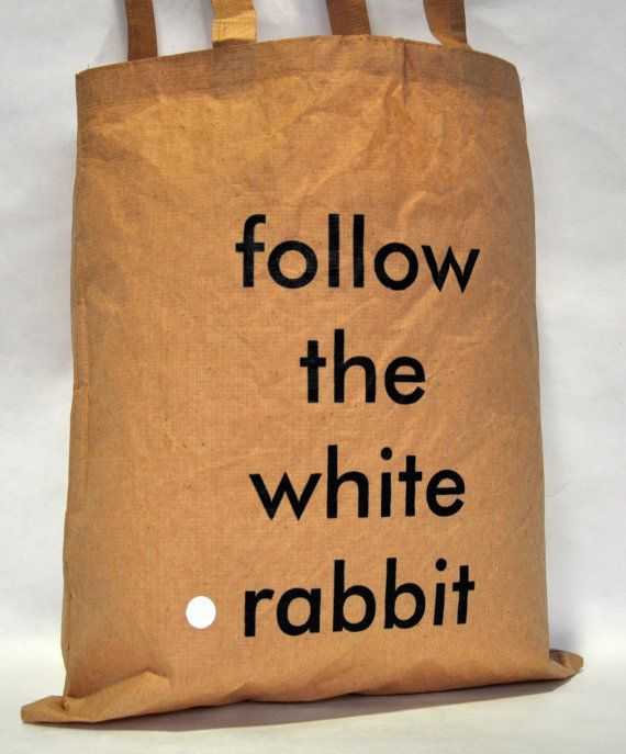 Follow the white rabbit. Tote bag. Natural fiber. by IntoTheTreees