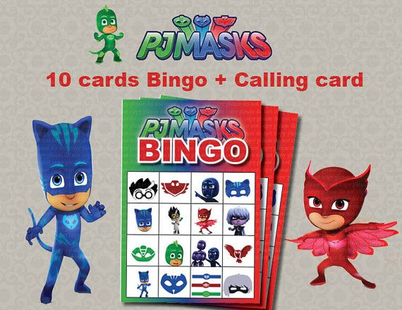 Instand DL PJ Masks Bingo 10 cards calling cards by foxisgone