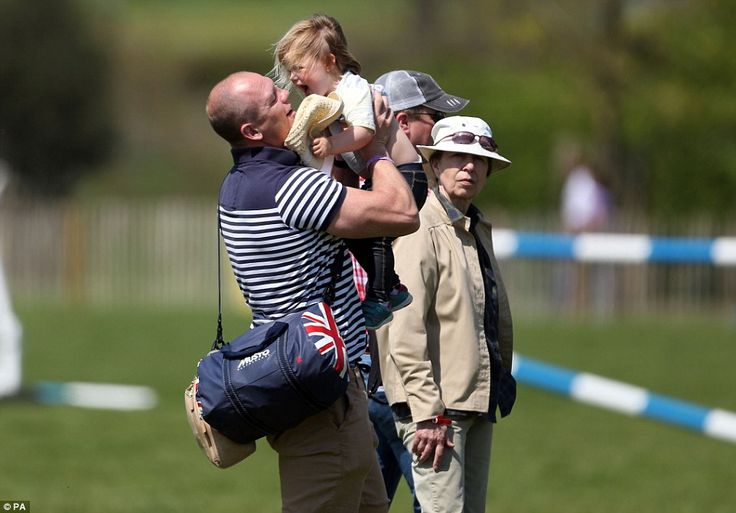 Two-year-old Mia Tindall stole the show at the Badminton Horse Trials as she played with f...