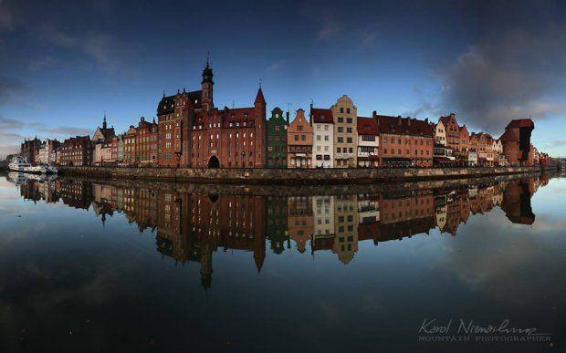 Gdańsk, Długie Pobrzeże - widok z Wyspy Spichrzów