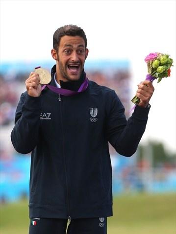 Daniele Molmenti (01/08/1984 - Pordenone (ITA)) of Italy celebrates winning the gold medal in the men's Kayak Single (K1)