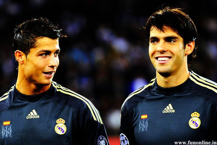 Cristinano Ronaldo (left), a Portuguese football player with his Brazillian colleague in the Real Madrid football team, Ricardo Kaka