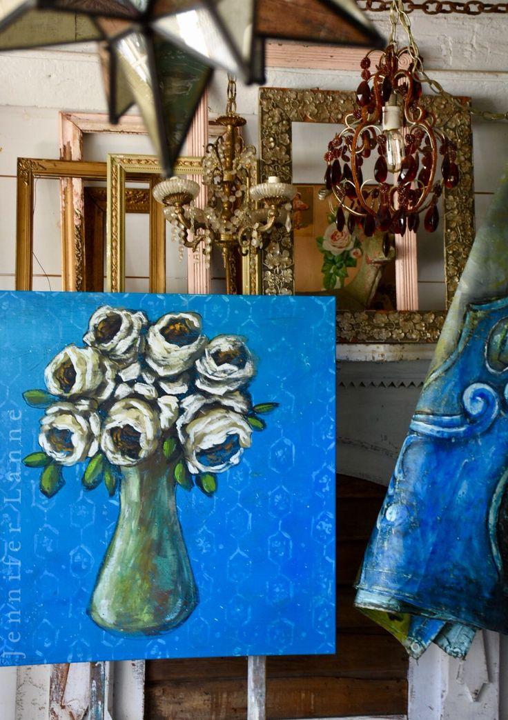 Jennifer Lanne  painting  White roses in blue