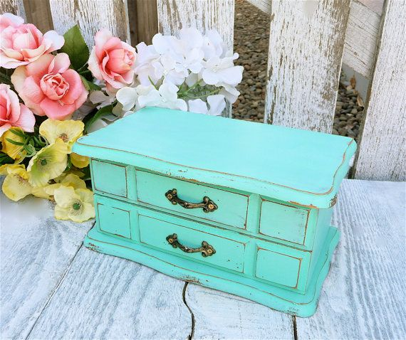 MINT Jewelry Box  SHABBY CHIC Upcycled Mint by HuckleberryVntg, $39.00