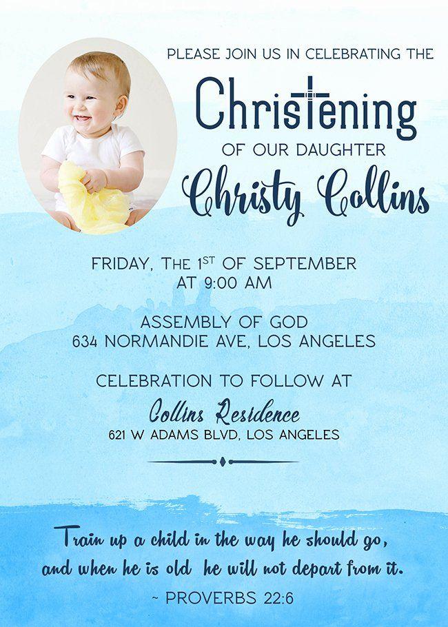 Baptism Christening Invitation Personalized Digital You Print File Baby Dedication Invitation Christening Invitations Dedication Invitations