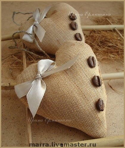Coffee hearts...translated from Russian. Filled with coffee and cinnamon for the home or hang in your car.