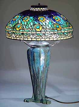 "18"" Peacock Tiffany Lamp #1472  & Wheat Glass Mosaic Urn  #151"
