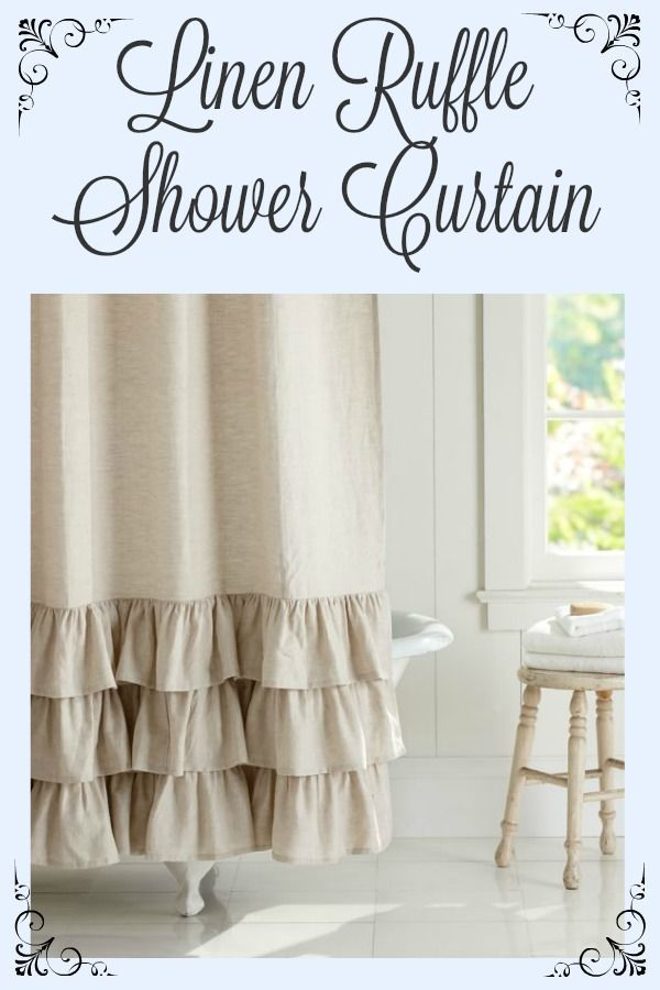 Linen Ruffle Shower Curtain.  Rustic French Country style ruffled shower curtain.  #frenchcountry #rusticdecor #bathroomdecor #bathroomideas #farmhouse #farmhousestyle #farmhousedecor #potterybarn #affiliatelink
