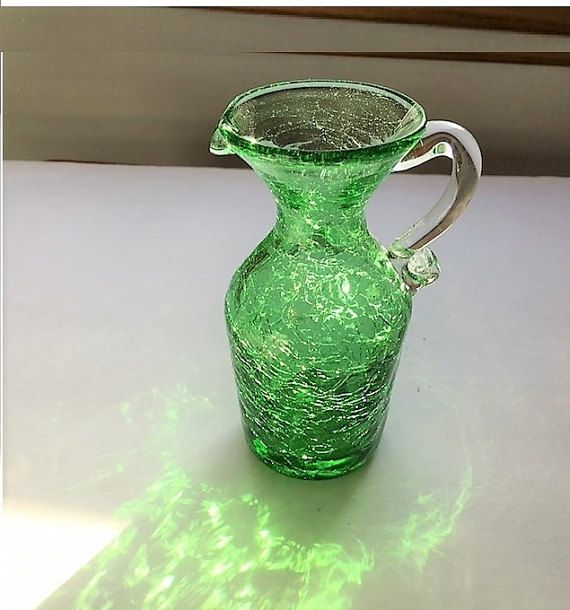Vintage Green Crackle Glass Pitcher 1970's by TazamarazVintage