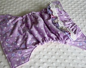 One-size-fits-most cloth nappy- Lavender minky dots
